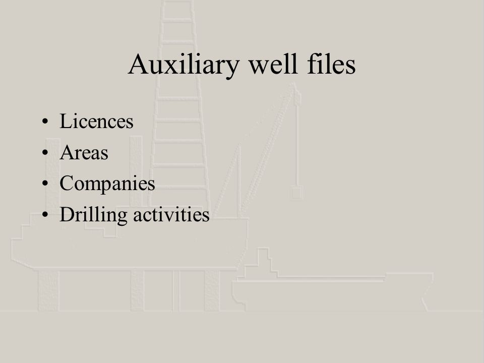 Auxiliary well files Licences Areas Companies Drilling activities