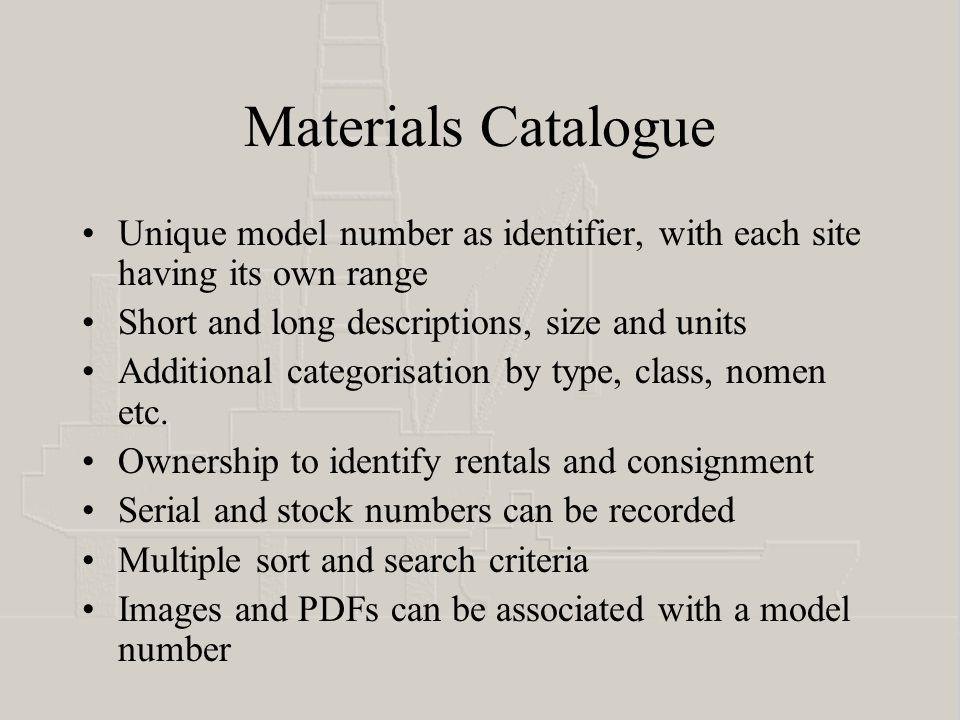 Materials definition screen Automatic, unique model number Descriptive fields Categorisation and identification