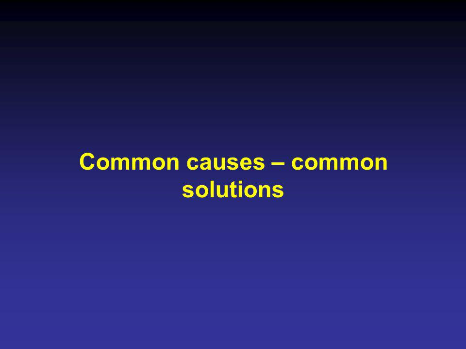 Common causes – common solutions