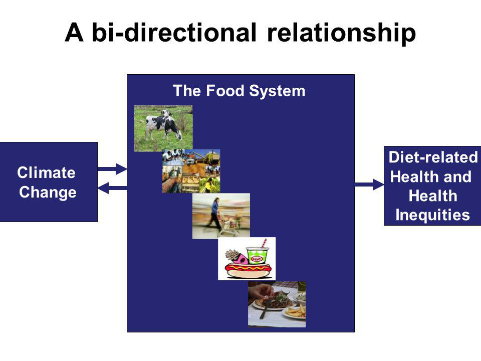 A bi-directional relationship Climate Change Diet-related Health and Health Inequities The Food System
