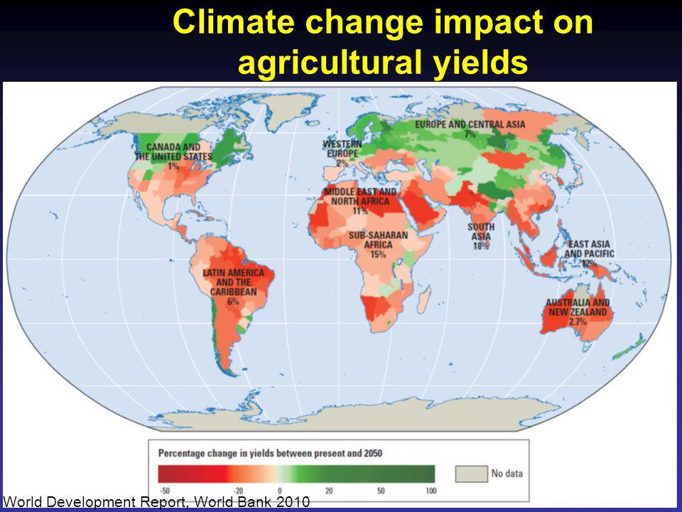 Climate change impact on agricultural yields World Development Report, World Bank 2010