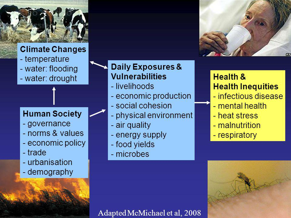 Adapted McMichael et al, 2008 Human Society - governance - norms & values - economic policy - trade - urbanisation - demography Daily Exposures & Vulnerabilities - livelihoods - economic production - social cohesion - physical environment - air quality - energy supply - food yields - microbes Climate Changes - temperature - water: flooding - water: drought Health & Health Inequities - infectious disease - mental health - heat stress - malnutrition - respiratory