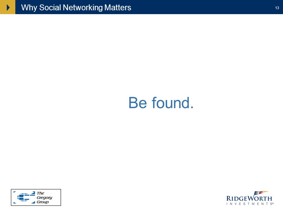 13 Why Social Networking Matters Find. Be found.