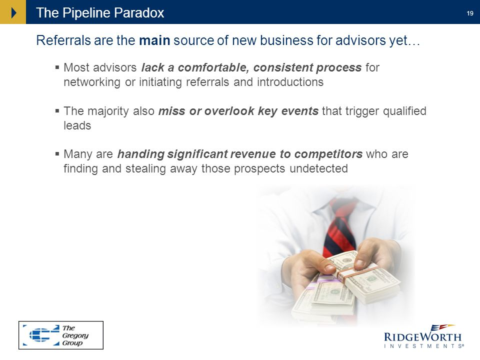 19 The Pipeline Paradox Referrals are the main source of new business for advisors yet… Most advisors lack a comfortable, consistent process for networking or initiating referrals and introductions The majority also miss or overlook key events that trigger qualified leads Many are handing significant revenue to competitors who are finding and stealing away those prospects undetected