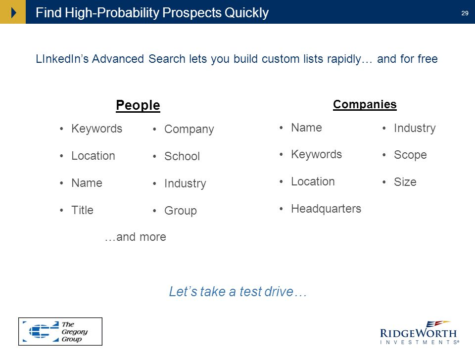 29 Find High-Probability Prospects Quickly People Keywords Location Name Title …and more Companies Name Keywords Location Headquarters LInkedIns Advanced Search lets you build custom lists rapidly… and for free Lets take a test drive… Company School Industry Group Industry Scope Size