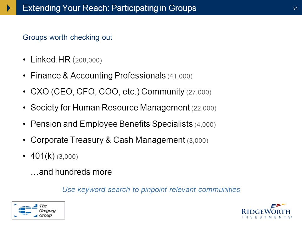 31 Extending Your Reach: Participating in Groups Linked:HR ( 208,000) Finance & Accounting Professionals (41,000) CXO (CEO, CFO, COO, etc.) Community