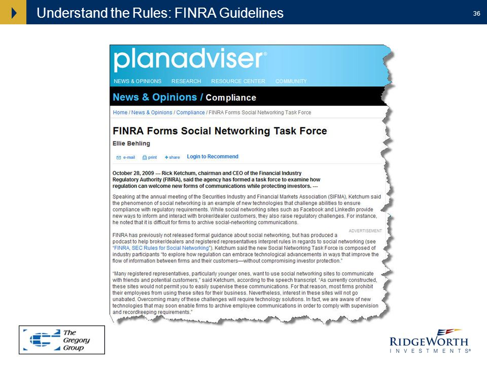 36 Understand the Rules: FINRA Guidelines