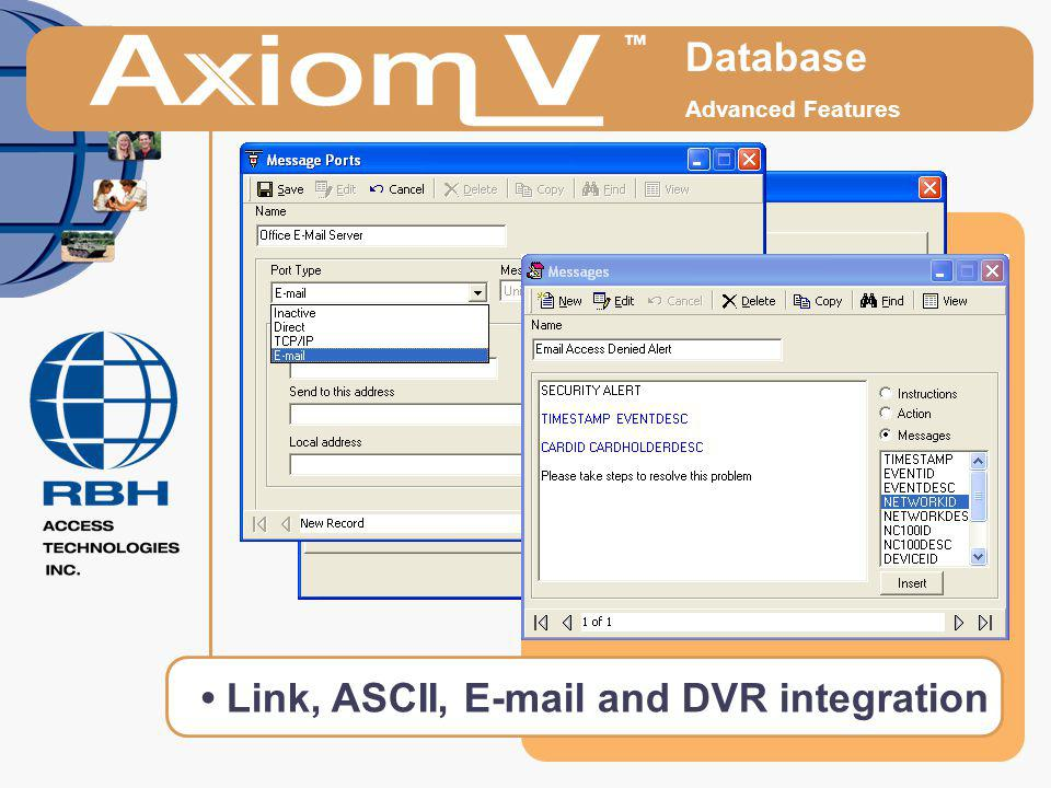 Database Advanced Features Link, ASCII, E-mail and DVR integration