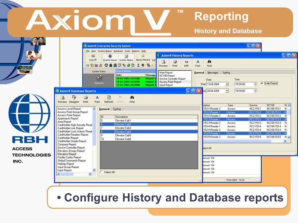 Reporting History and Database Configure History and Database reports