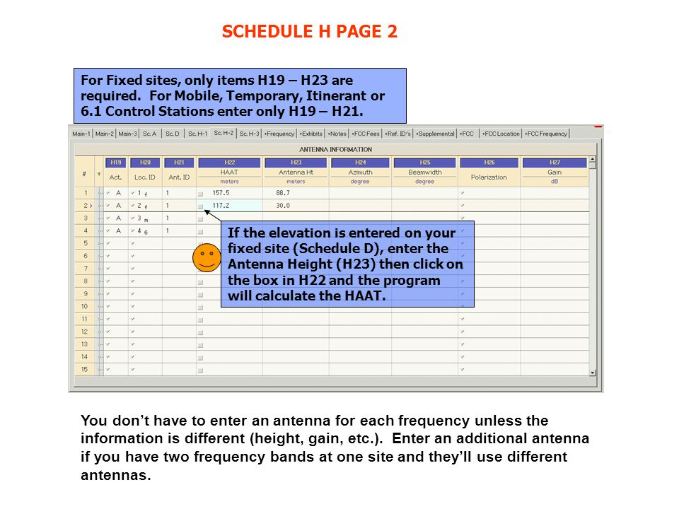 SCHEDULE H PAGE 2 For Fixed sites, only items H19 – H23 are required. For Mobile, Temporary, Itinerant or 6.1 Control Stations enter only H19 – H21. I