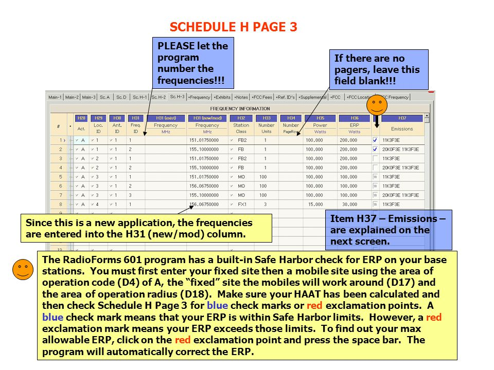 SCHEDULE H PAGE 3 PLEASE let the program number the frequencies!!! If there are no pagers, leave this field blank!!! Since this is a new application,