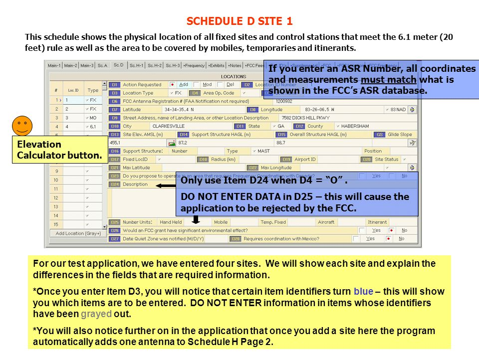 Remember that if you enter an ASR # on Schedule D Item D6, the coordinates and measurements must match what is shown in the ASR database.