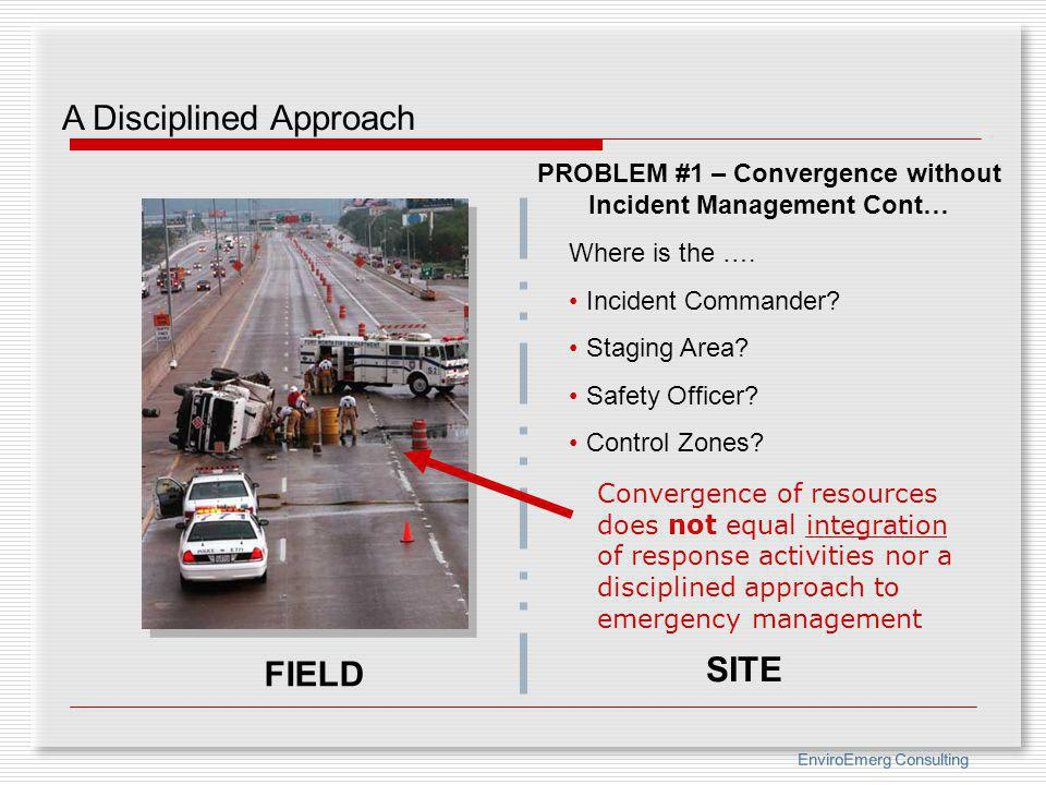 EnviroEmerg Consulting FIELD SITE Where is the …. Incident Commander? Staging Area? Safety Officer? Control Zones? PROBLEM #1 – Convergence without In