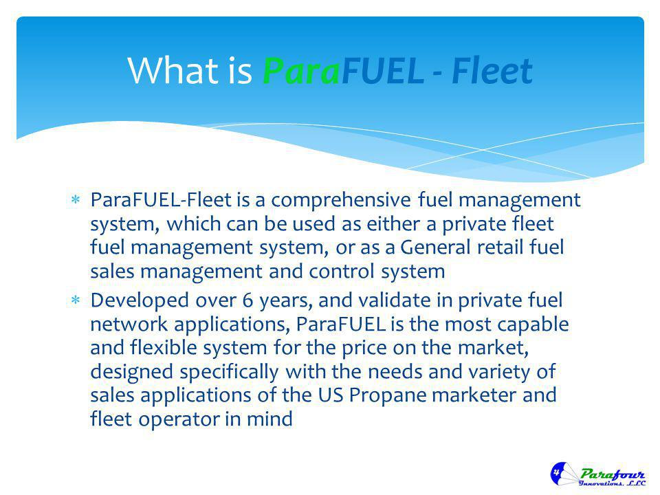 ParaFUEL-Fleet is a comprehensive fuel management system, which can be used as either a private fleet fuel management system, or as a General retail f