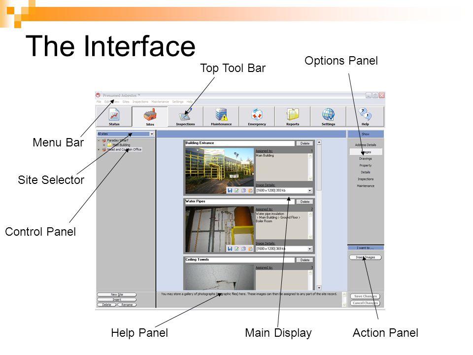 The Interface Top Tool Bar Options Panel Action PanelMain DisplayHelp Panel Control Panel Site Selector Menu Bar