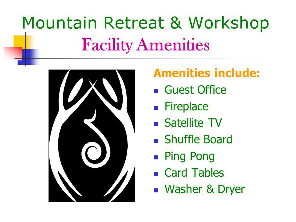 Mountain Retreat & Workshop Facility Amenities Amenities include: Guest Office Fireplace Satellite TV Shuffle Board Ping Pong Card Tables Washer & Dryer