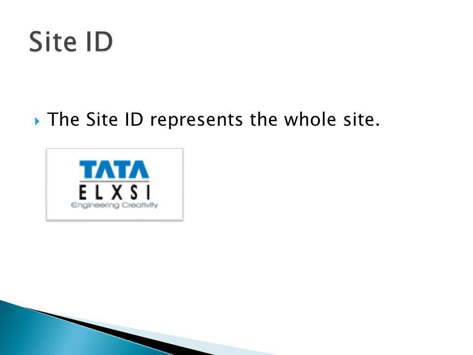 The Site ID represents the whole site.