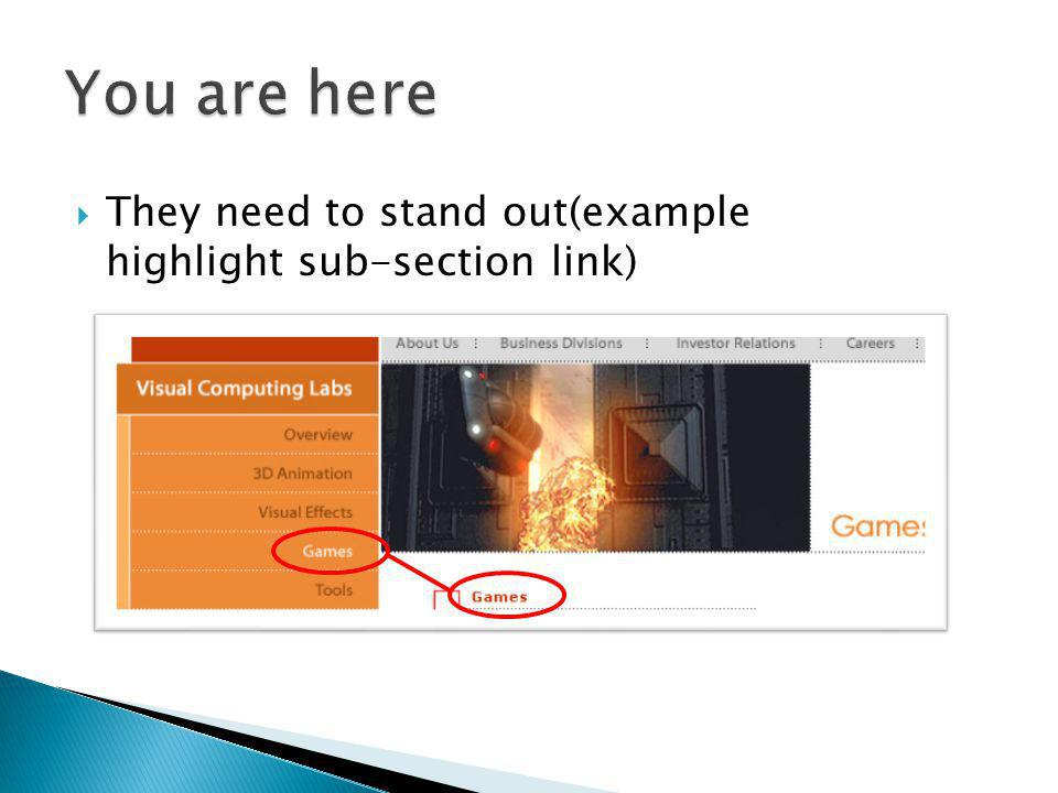 They need to stand out(example highlight sub-section link)