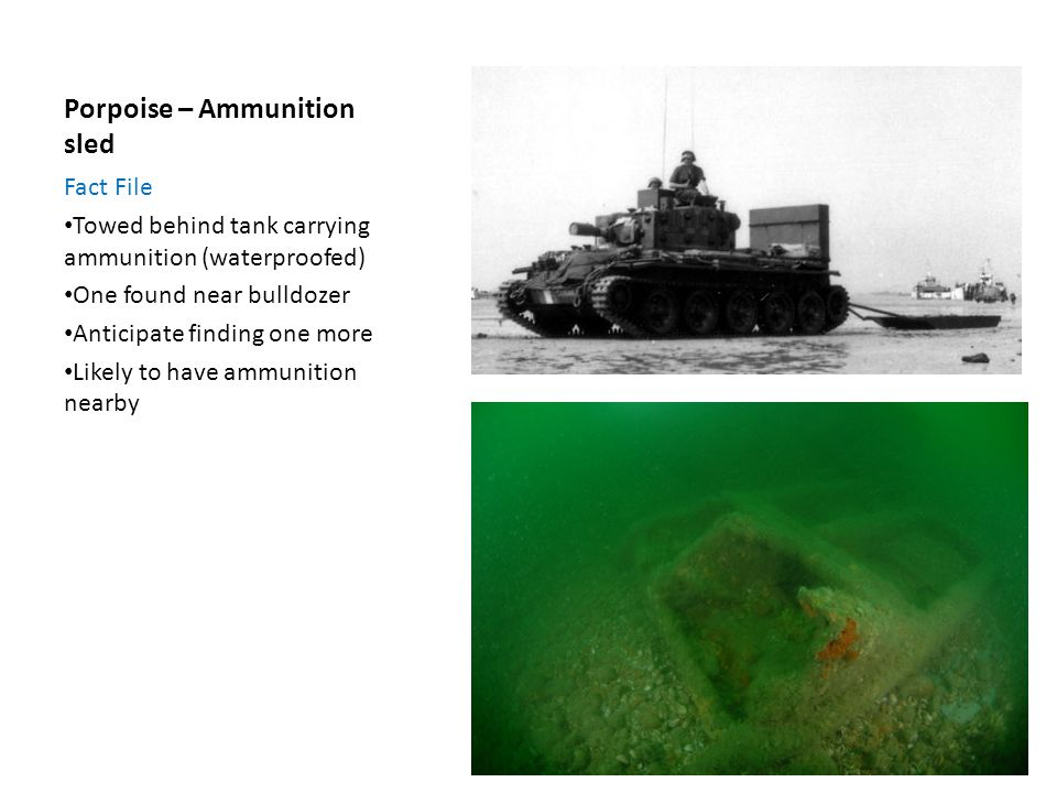 Porpoise – Ammunition sled Fact File Towed behind tank carrying ammunition (waterproofed) One found near bulldozer Anticipate finding one more Likely to have ammunition nearby