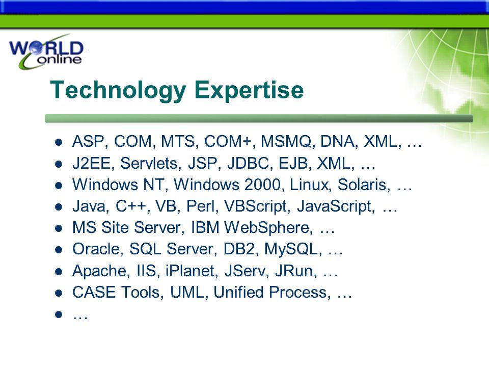 Technology Expertise ASP, COM, MTS, COM+, MSMQ, DNA, XML, … J2EE, Servlets, JSP, JDBC, EJB, XML, … Windows NT, Windows 2000, Linux, Solaris, … Java, C++, VB, Perl, VBScript, JavaScript, … MS Site Server, IBM WebSphere, … Oracle, SQL Server, DB2, MySQL, … Apache, IIS, iPlanet, JServ, JRun, … CASE Tools, UML, Unified Process, … …