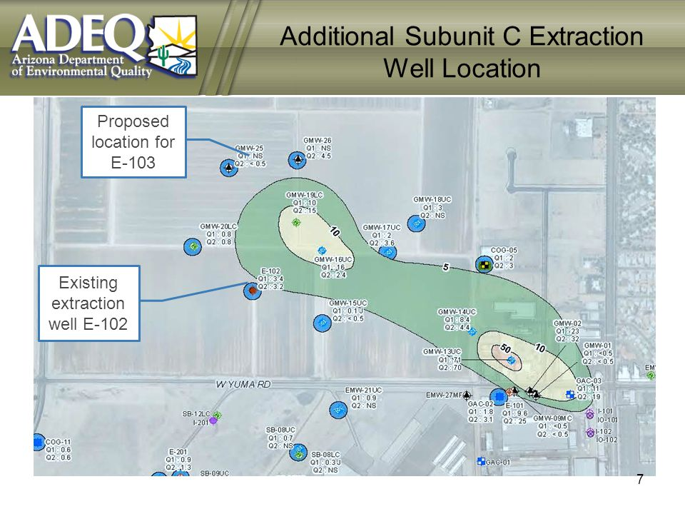 Proposed location for E-103 Existing extraction well E-102 Additional Subunit C Extraction Well Location 7