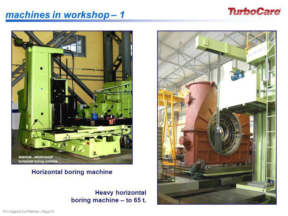 Privileged & Confidential – Page 10 machines in workshop – 1 Heavy horizontal boring machine – to 65 t. Horizontal boring machine
