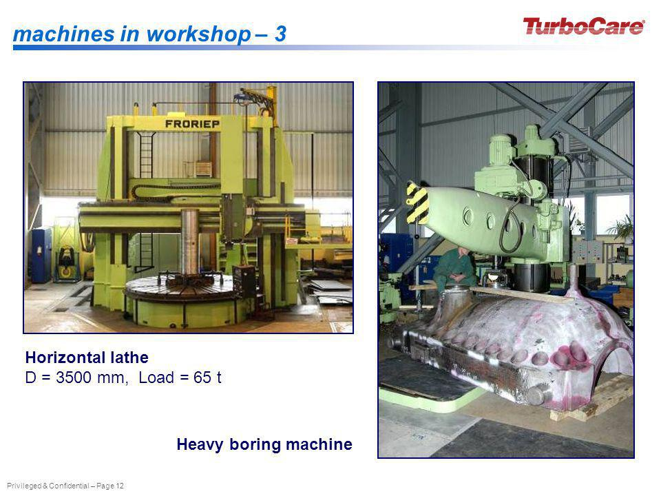 Privileged & Confidential – Page 12 machines in workshop – 3 Horizontal lathe D = 3500 mm, Load = 65 t Heavy boring machine