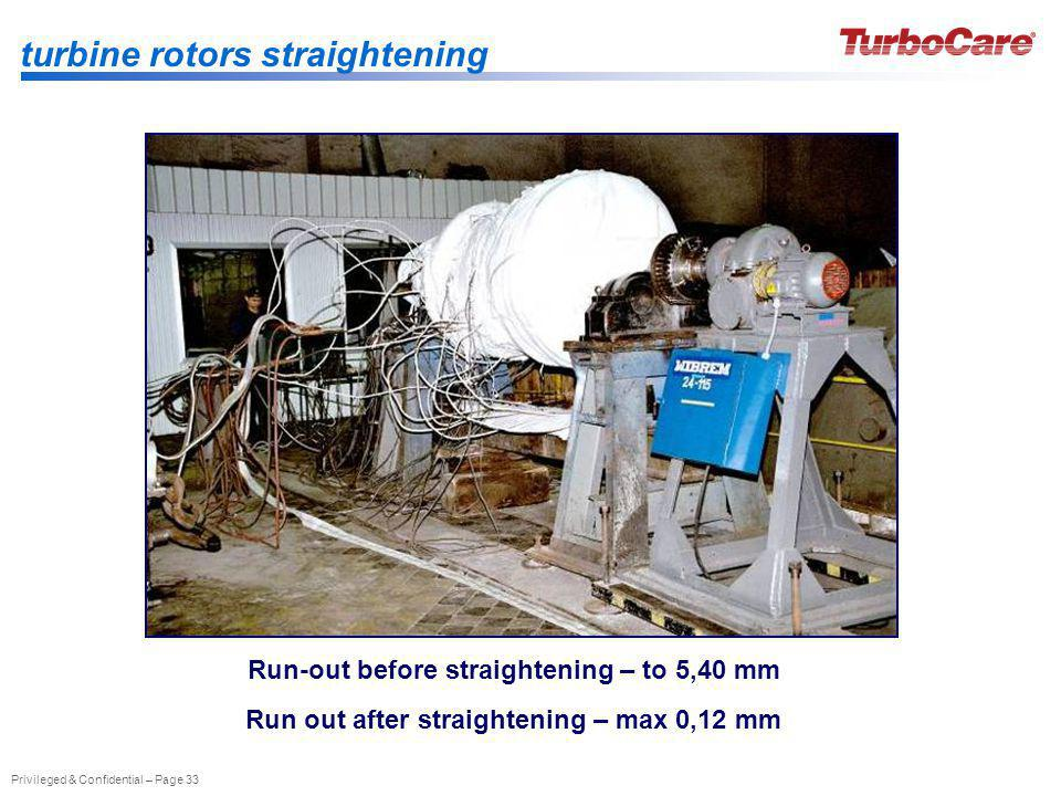 Privileged & Confidential – Page 33 turbine rotors straightening Run-out before straightening – to 5,40 mm Run out after straightening – max 0,12 mm