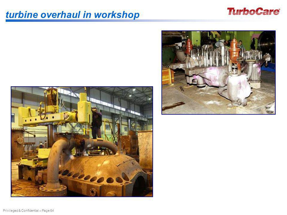 Privileged & Confidential – Page 54 turbine overhaul in workshop