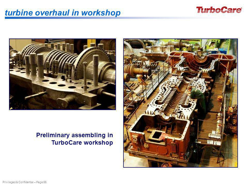 Privileged & Confidential – Page 55 turbine overhaul in workshop Preliminary assembling in TurboCare workshop