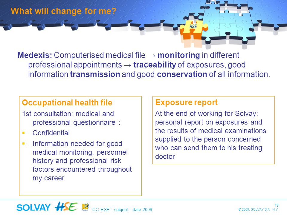 19 © 2009, SOLVAY S.A. N.V. CC-HSE – subject – date 2009 What will change for me? Medexis: Computerised medical file monitoring in different professio