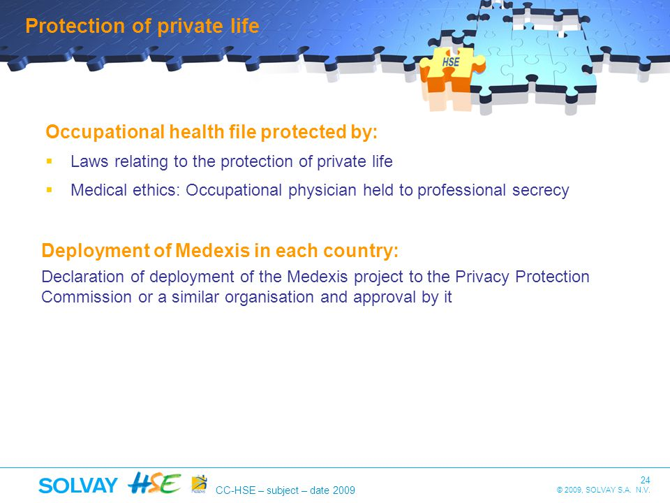 24 © 2009, SOLVAY S.A. N.V. CC-HSE – subject – date 2009 Occupational health file protected by: Laws relating to the protection of private life Medica