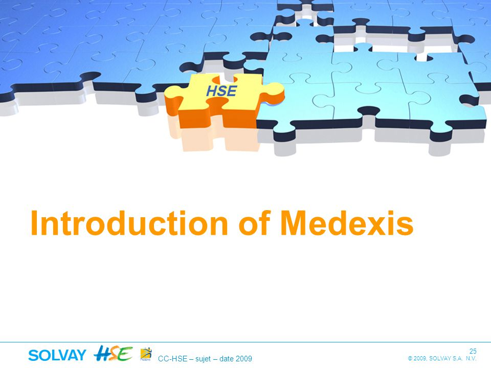 CC-HSE – sujet – date 2009 25 © 2009, SOLVAY S.A. N.V. Introduction of Medexis