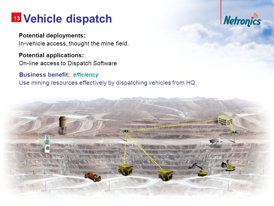 13 Vehicle dispatch Potential deployments: In-vehicle access, thought the mine field.