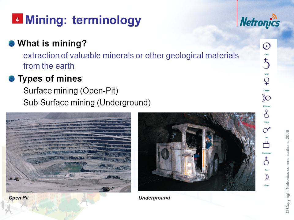 4 Mining: terminology What is mining.