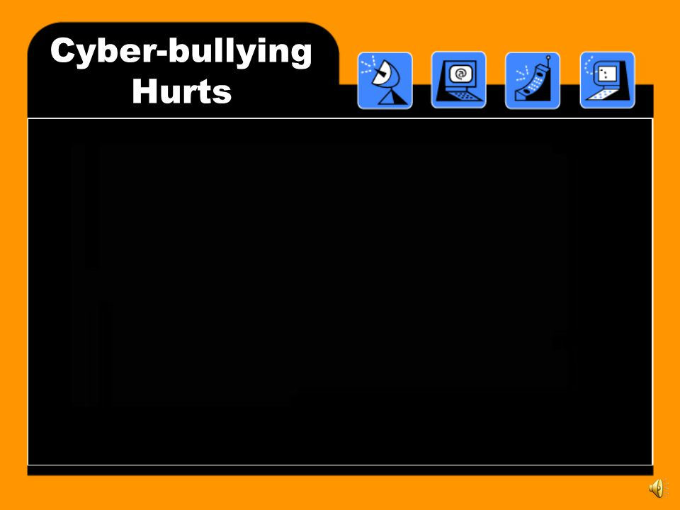 What is Cyber-bullying. Cyber-bullying is hurting someone else through the use of technology.