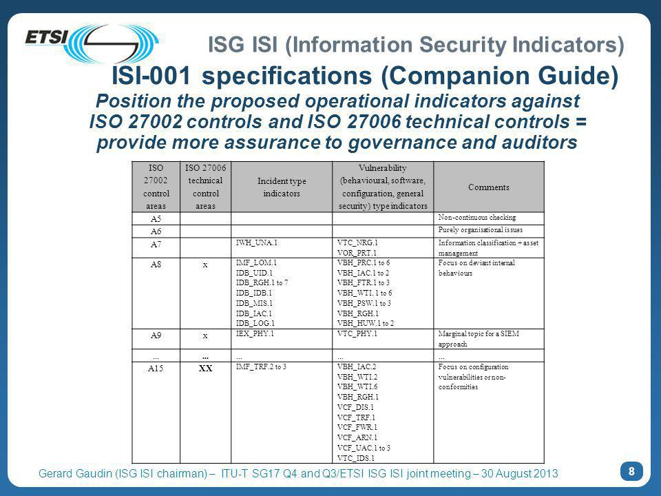 ISG ISI (Information Security Indicators) Gerard Gaudin (ISG ISI chairman) – ITU-T SG17 Q4 and Q3/ETSI ISG ISI joint meeting – 30 August 2013 Position