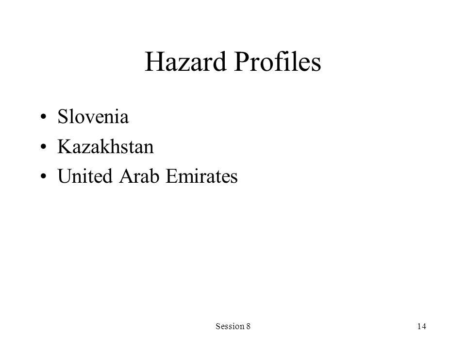 Session 814 Hazard Profiles Slovenia Kazakhstan United Arab Emirates