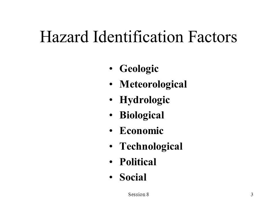 Session 83 Hazard Identification Factors Geologic Meteorological Hydrologic Biological Economic Technological Political Social