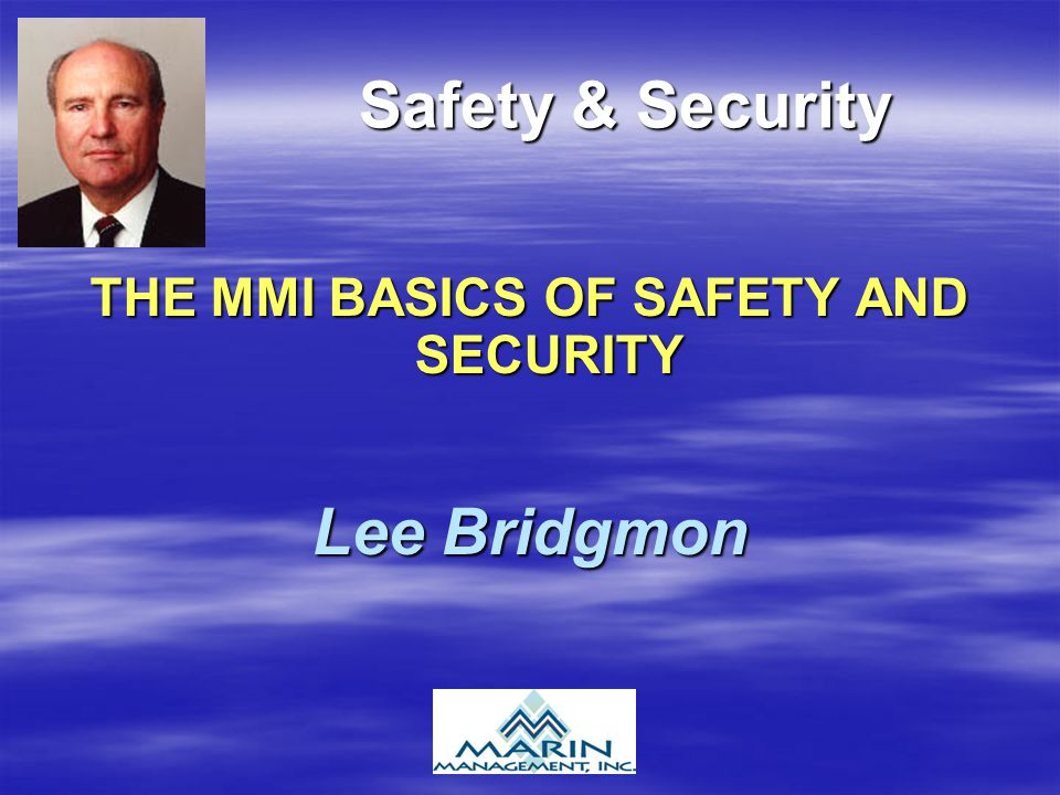 Safety & Security THE MMI BASICS OF SAFETY AND SECURITY Lee Bridgmon