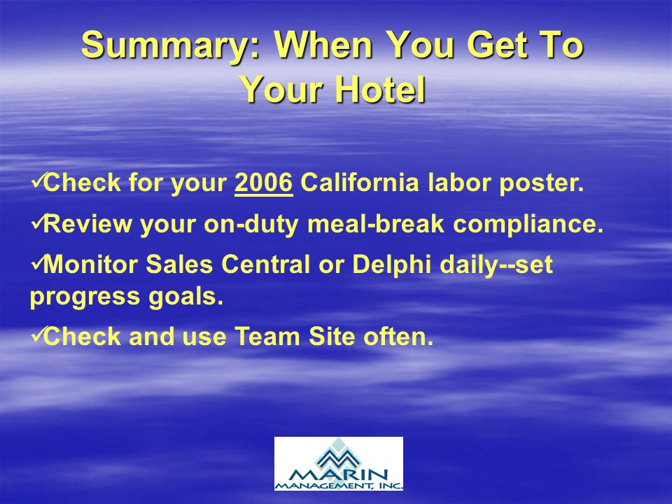 Summary: When You Get To Your Hotel Check for your 2006 California labor poster.