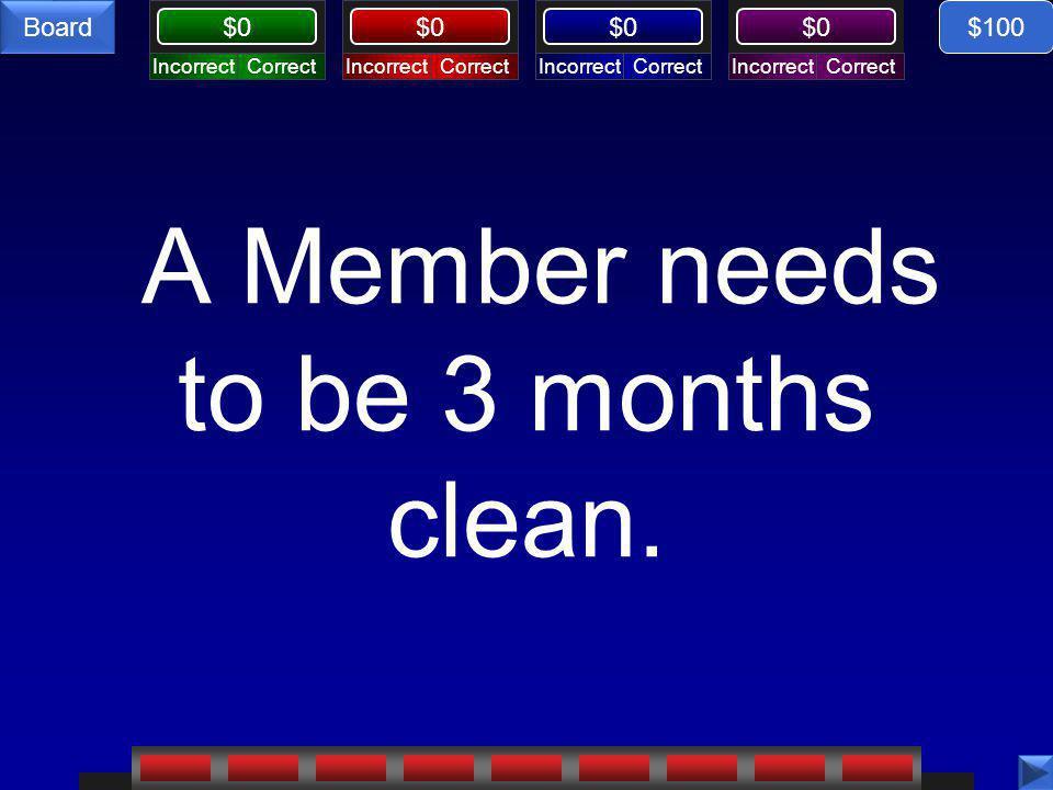 Board CorrectIncorrectCorrectIncorrectCorrectIncorrectCorrectIncorrect Board $0 A Member needs to be 3 months clean.