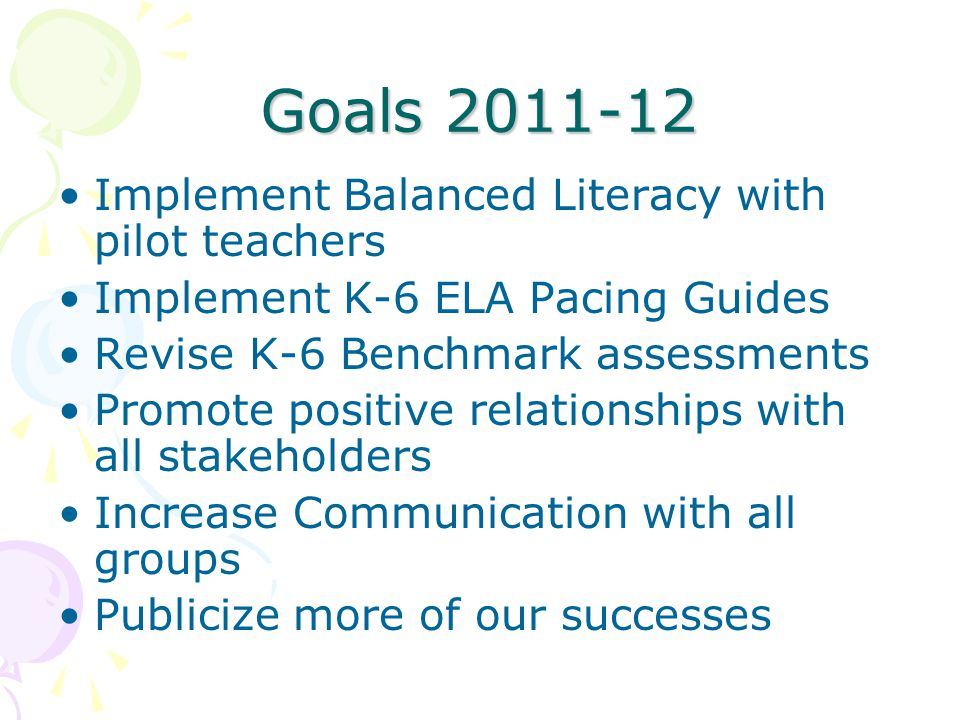 Goals 2011-12 Implement Balanced Literacy with pilot teachers Implement K-6 ELA Pacing Guides Revise K-6 Benchmark assessments Promote positive relati