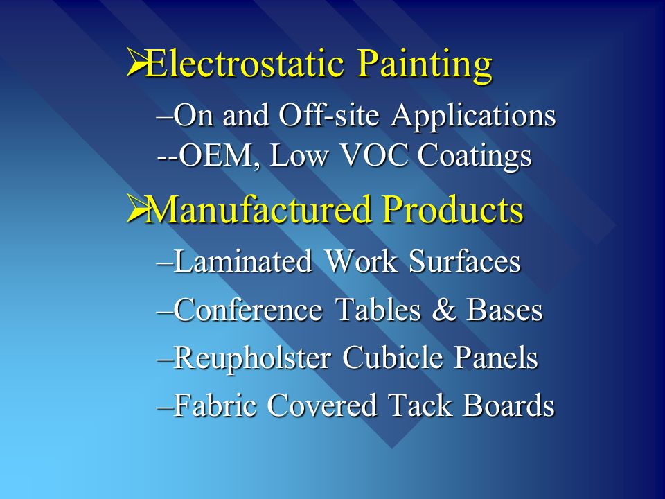 Electrostatic Painting Electrostatic Painting –On and Off-site Applications --OEM, Low VOC Coatings Manufactured Products Manufactured Products –Lamin