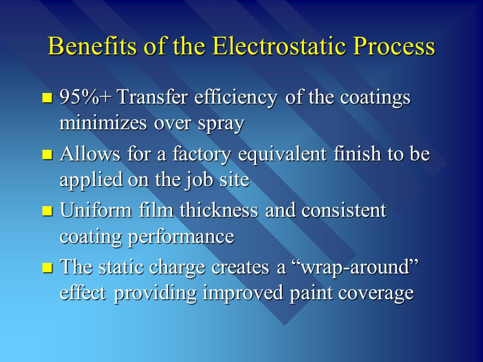 Benefits of the Electrostatic Process 95%+ Transfer efficiency of the coatings minimizes over spray 95%+ Transfer efficiency of the coatings minimizes