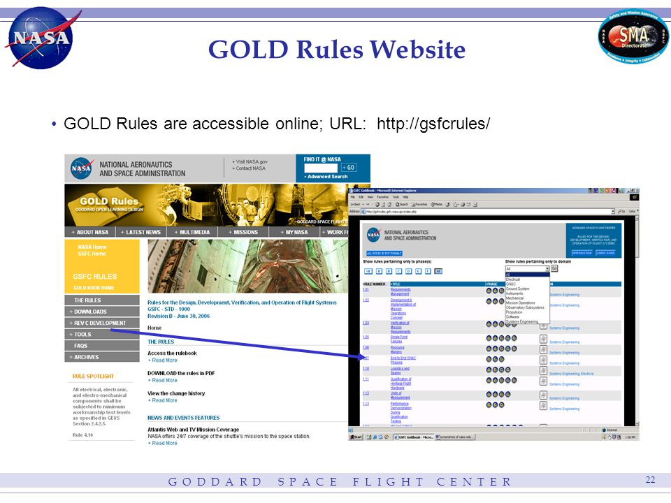 G O D D A R D S P A C E F L I G H T C E N T E R 22 GOLD Rules Website GOLD Rules are accessible online; URL: http://gsfcrules/
