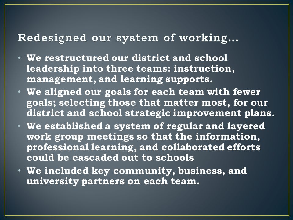 We restructured our district and school leadership into three teams: instruction, management, and learning supports.