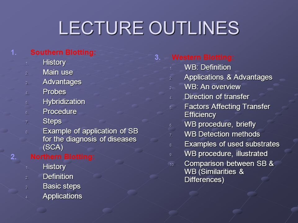 LECTURE OUTLINES 1. 1.Southern Blotting: 1. History 2. Main use 3. Advantages 4. Probes 5. Hybridization 6. Procedure 7. Steps 8. Example of applicati