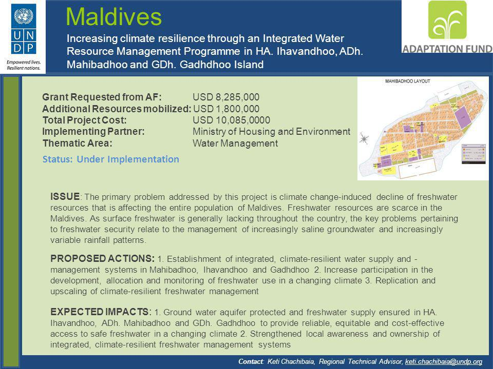 Maldives Increasing climate resilience through an Integrated Water Resource Management Programme in HA. Ihavandhoo, ADh. Mahibadhoo and GDh. Gadhdhoo