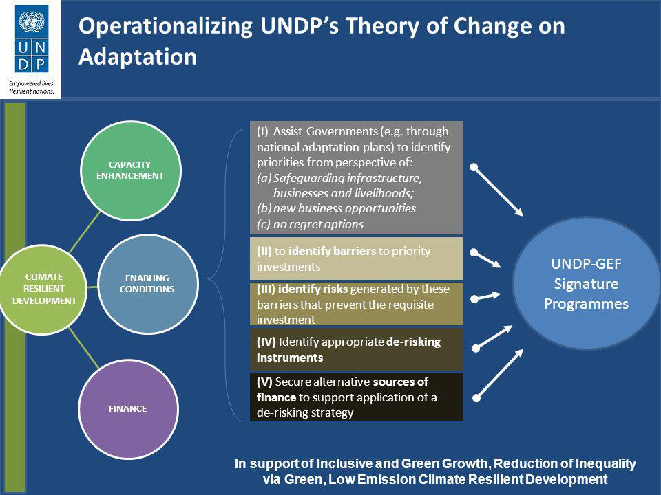 Operationalizing UNDPs Theory of Change on Adaptation In support of Inclusive and Green Growth, Reduction of Inequality via Green, Low Emission Climat